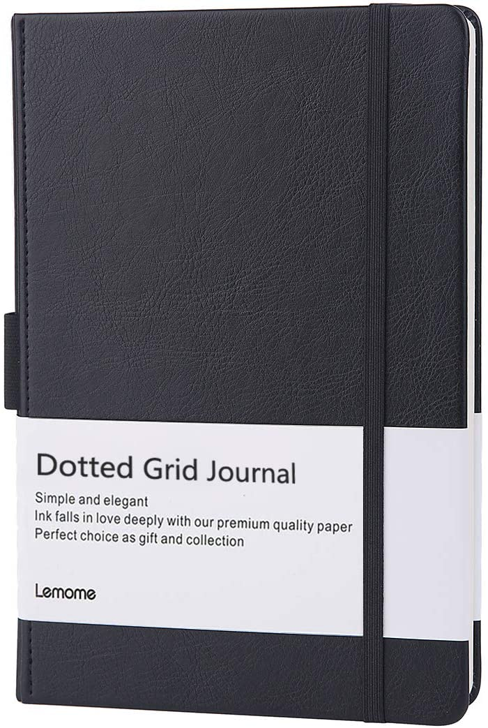 LEMOME Dotted Leather Journal/Notebook with Pen Loop